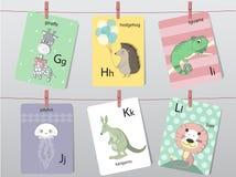 Śliczny zoo abecadło z śmiesznymi zwierzętami, listy, Zwierzęcy abecadło, Uczy się czytać, Wektorowe ilustracje Zdjęcia Royalty Free