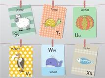Śliczny zoo abecadło z śmiesznymi zwierzętami, listy, Zwierzęcy abecadło, Uczy się czytać, Wektorowe ilustracje Obraz Royalty Free