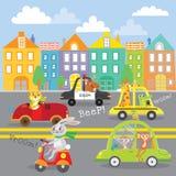 Śliczny zwierzę na transporcie w mieście ilustracji