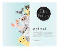 Śliczny zwierzęcy rodzinny tło z kotami Zdjęcie Royalty Free