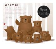 Śliczny zwierzęcy rodzinny tło z niedźwiedziami Fotografia Royalty Free