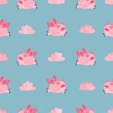Ślicznych akwareli latających świni bezszwowy wzór ilustracja wektor