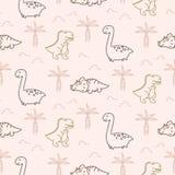 Ślicznych dinosaurów wektoru bezszwowy wzór ilustracji