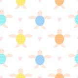 Ślicznych dzieci bezszwowy tło z żółwiami Zdjęcia Stock