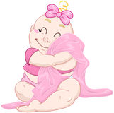 Ślicznych dziewczynek uściśnięć Różowa koc Obraz Stock