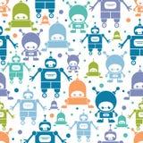Ślicznych kolorowych kreskówka robotów bezszwowy wzór ilustracji