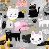 Ślicznych kotów bezszwowy wzór Dziecięcy tło z figlarki i abstrakta elementami Dziecko projekt dla tkaniny, tkanina ilustracja wektor