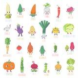 Ślicznych kreskówek żywych warzyw duży wektorowy duży set Obraz Stock
