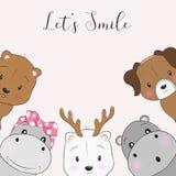Ślicznych kreskówek zwierząt szczęśliwy uśmiech ilustracja wektor