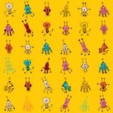 Ślicznych kreskówka robota charakterów bezszwowy wzór Fotografia Stock