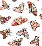 Ślicznych motyli bezszwowy wzór w retro stylu Piękny rzemiosło i czerwoni ćma ornamentu geometryczne tła księgi stary rocznik wal Obrazy Stock