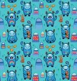Ślicznych potworów bezszwowy wzór na błękitnym tle Wektorowi postać z kreskówki z błękitną yeti sztuką i zabawą ilustracja wektor