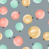 Ślicznych różnych kolorowych dekoracyjnych Bożenarodzeniowych piłek bezszwowy wzór Fotografia Stock