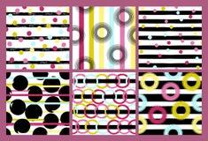 6 Ślicznych różnych wektorowych bezszwowych wzorów Faliste linie, zawijas, okręgi, muśnięć uderzenia Polka lampasy i kropki endle Fotografia Stock