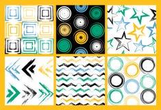 6 Ślicznych różnych wektorowych bezszwowych wzorów Wiruje, okręgi, muśnięć uderzenia, kwadraty, abstrakcjonistyczni geometryczni  royalty ilustracja
