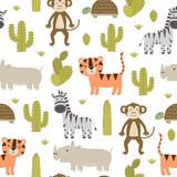 Ślicznych safari zwierząt bezszwowy wzór ilustracja wektor