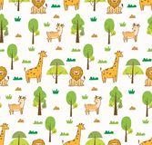 Ślicznych zwierząt bezszwowy tło z lwem, żyrafą i rogaczami, ilustracja wektor