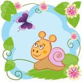 Ślimaczek i motyl wśród kwiatów Fotografia Stock