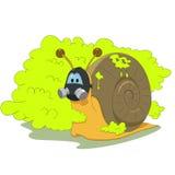 Ślimaczek z maską gazową Zdjęcia Royalty Free