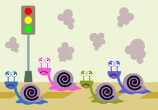 Ślimaczka ruch drogowy Zdjęcia Royalty Free