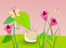 Ślimaczki i motyle Obraz Stock