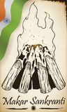 Ślimacznica z indianina ogniska i flagi remisem dla Makar Sankranti, Wektorowa ilustracja ilustracja wektor