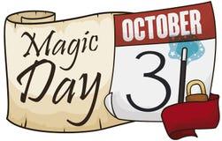 Ślimacznica z kalendarzem, faborkiem i kłódką dla Magicznego dnia świętowania, Wektorowa ilustracja ilustracja wektor