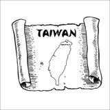 Ślimacznica z mapą Tajwan royalty ilustracja