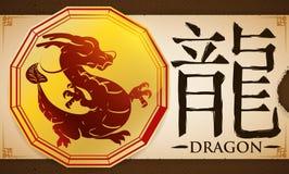 Ślimacznica z medalem z Chińskim zodiaka smokiem nad Earthy tłem, Wektorowa ilustracja ilustracji