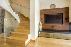 Ślimakowaci drewniani schodki fotografia stock