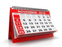 Ślimakowaty Kalendarzowy Listopad 2018 Listopadu 2018 kalendarz w białym tle ilustracja 3 d fotografia royalty free