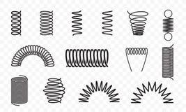 Ślimakowatych wiosen kształtów wektoru linii różne ikony ilustracja wektor
