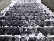 Śliski schody Zakrywający lód fotografia stock