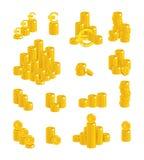 Ślizga się złocisty euro odizolowywającego kreskówka set Zdjęcia Royalty Free