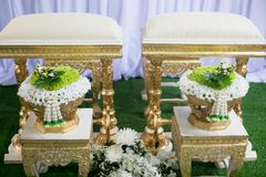 Ślubna ceremonia Tajlandia Także dzwonił ślubnej ceremonii podlewanie Obrazy Royalty Free