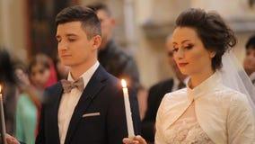 Ślubna ceremonia W kościół chrześcijańskim zbiory