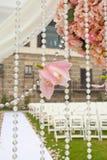 Ślubna ceremonia w ogródzie Zdjęcia Royalty Free