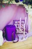 Ślubna dekoracja z płótnem i świeczkami Fotografia Royalty Free