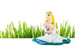 Ślubna figurka panna młoda na bielu Fotografia Stock
