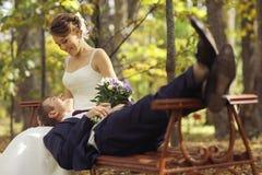 Ślubna fotografia państwo młodzi obraz stock