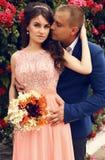 Ślubna fotografia piękna czuła para Obraz Stock