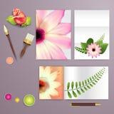Ślubna karta lub zaproszenie z abstrakcjonistycznym kwiecistym tłem dla ślubnej agenci Elegancja wzór z siatka kwiatami Kwiecisty ilustracja wektor