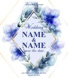 Ślubna karta z akwareli błękitem kwitnie Wektorowe ilustracje ilustracja wektor