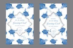 Ślubna karta z eleganckimi błękitnymi różami Dekoracyjny kartka z pozdrowieniami o royalty ilustracja