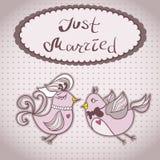 Ślubna karta z latającymi ptakami ilustracja wektor