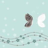 Ślubna karta z motylami na błękitnym kwiecistym tle ilustracji