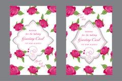 Ślubna karta z różami Dekoracyjny kartka z pozdrowieniami lub zaproszenie ilustracji