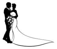 Ślubna państwo młodzi sylwetka ilustracji