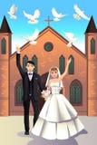Ślubna para uwalnia białe gołąbki ilustracji