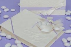 Ślubna przysługa i ślubny menu Zdjęcie Royalty Free